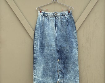 80s vintage High Waist Acid Wash Long Denim Skirt / Acid Wash Jean Skirt