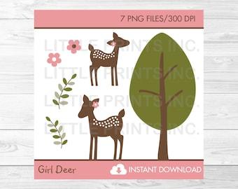 Pink Deer Clipart / Woodland Deer Clipart / Deer Baby Shower / Woodland Baby Shower / Girl Deer Clipart / PERSONAL USE Instant Download A379