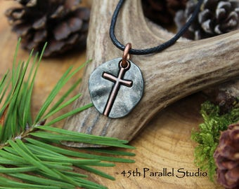 Gunmetal Cross, Cross Necklace, Mens Charm Necklace, Charm Necklace, Gunmetal Necklace, Mens Christian Necklace, Religious Jewelry, Cross