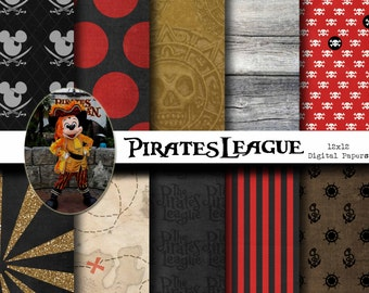 Disney Pirates League Inspired Digital Paper Backgrounds Pack - 12x12  - INSTANT DOWNLOAD