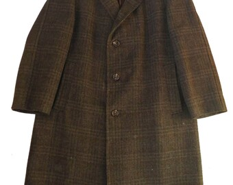 """Vintage 1960s Check Wool Crombie Sports Over Coat 44"""" Chest"""