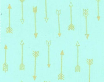 Arrows in Seafoam Metallic - Arrow Flight collection by Michael Miller fabric