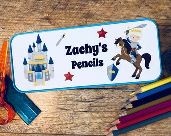 Personalised Knight Pencil Tin - Back to School Unique Gift UK