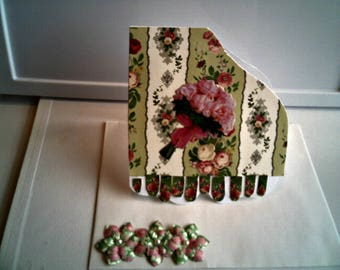 FLORAL PIANO CARD With Pink Roses Music Card Romantic Card Birthday Greeting Card Thinking Of You Card Friendship Card Piano Shaped Card