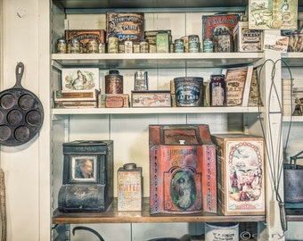 Coffee, Tobacco and Spice, On the shelves, 19th Century, General Store, So many great old things on display. Art Photography Print