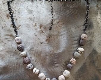 Original Necklace, Handmade Beads, Painted, Gunmetal, Gray, Brown, Black, Beige, Bohemian Style, Boho, Unique, Gift, Jewelry, Clay, Monicaj