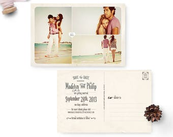 """Wedding save the date post card, 4x6, Save the date collage, personalized cards - the """"Madelyn 4"""""""