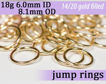 18g 6.0mm ID 8.1mm OD gold filled jump rings -- 18g6.00 goldfill jumprings 14k goldfilled