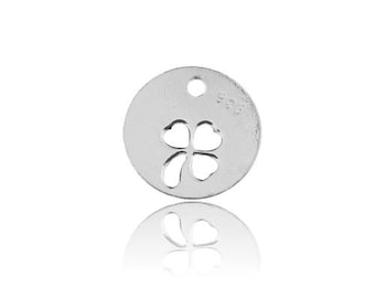 Charm with Clover inside Sterling Silver 925