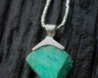 One of a Kind Raw Chrysoprase Pendant with Brushed Silver Pendant