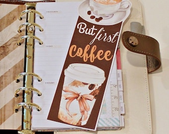 Bookmarks, Planner Bookmarks, But First Coffee, Printable Bookmark, Page Markers