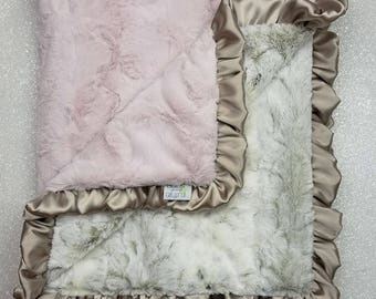 Minky blanket, faux fur throw, Rosewater hide, baby girl blanket, vintage pink, elegant plush blanket, pink and gold, arctic, animal print