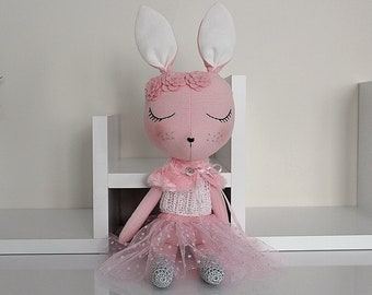 BUNNY FABRIC DOLL - Large - Rose Pink - Simple and Chic Ballerina Theme - Heirloom Cloth Doll - Limited