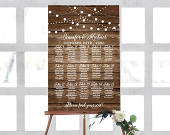 Rustic Seating Chart Printable Wedding Seating Chart Seating Chart Seating Plan Table Chart Printable Seating Sign #CL101