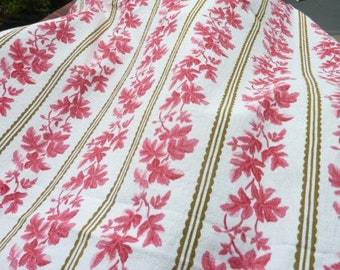 Ticking upholstery white curly pink * 114 cm x 126 cm * vintage Boussac of France