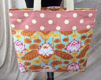 Lotus Flowers beach tote shoulder bag shopping shopper day bag purse Handmade Kaffe Fassett