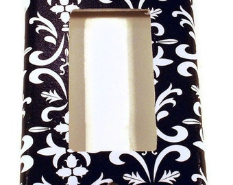 Light Switch Cover  Light Switchplates in  Black Damask (179R)