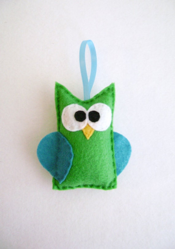 Ornament, Owl Ornament, Christmas Ornament, Beauregard the Green Owl, Stocking Stuffer