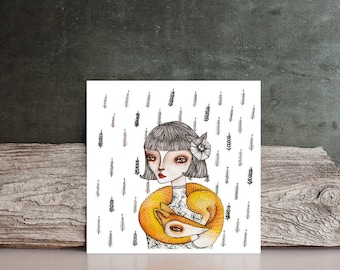 Watercolor Giclee PRINT Original Painting by Nora - fox Girl portrait / forest animals - Fine Art illustration drawing / home decor / gift