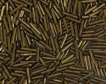 Size 4, 9 mm long, bronze metallic, glass bugle beads-8 grams-Bin #186