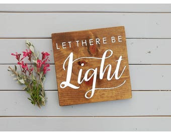 Let there be LIGHT sign, rustic faith sign, rustic wall decor, Genesis sign, let there be light, inspirational sign