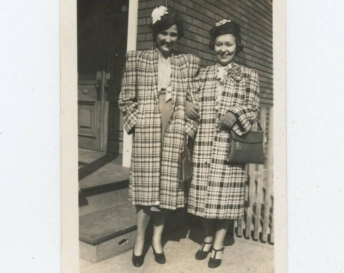 Vintage Snapshot Photo: Women in Overcoats, April 16, 1939 [82652]