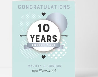Personalised Congratulations 10th Anniversary Card - Personalised 10th Anniversary Gift Card - Card is Blank for Your Personal Message
