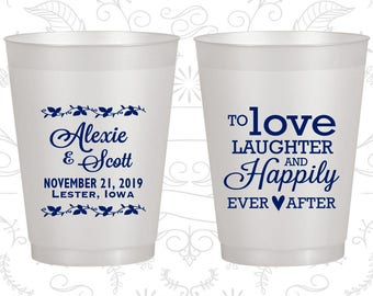 Frosted Plastic Cups, Love Laughter Happily Ever After, Wedding Favors, Custom Wedding Cups, Personalized Cups (C32)
