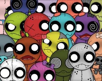 Strange Madness 8x10 digital art print by Kristie Silva kooky creepy voodoo doll monster creatures