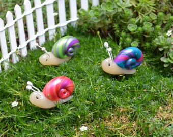 Swirled Colors Snail on a Nail for Fairy Garden