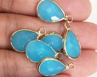 4 glass faceted teardrop pendant with Gold frame, light Blue glass drops 18x11mm, framed glass teardrops