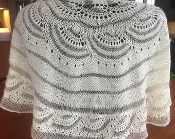Elegant Hand Knit Lace Shawl - Wrap - Ivory - Gold - Wedding - Formal Knitwear - Prom - Evening wear
