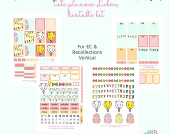 Cute planner stickers printable kit for EC and Recollections vertical planners