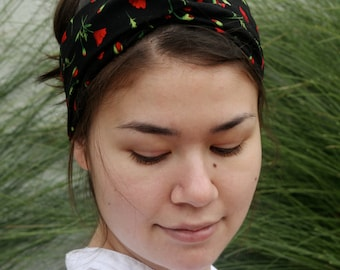 Red Flower Turban Headband, Black Turband, Stretchy Headwrap
