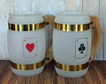 Vintage Set of 2 Siesta Ware Frosted Mugs with Wood Handles Poker Playing Cards Hearts Clubs Bar Man Cave Decor Party Drinks Barrel Pair