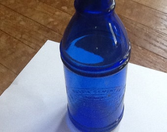 Vintage Cobalt Blue Glass Signet Ink bottle