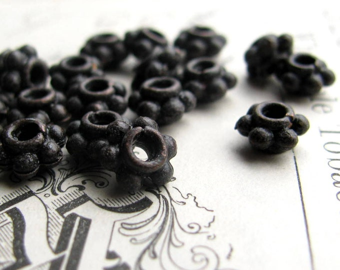6mm black daisy spacers from Bad Girl Castings, antiqued patina pewter (20 spacers) rustic, distressed, dark heishi, flower disc, rondelle
