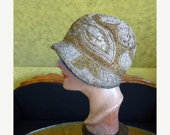 ON SALE 1920s Gold Sequin Embroidery Cloche, antique hat, Flapper Hat