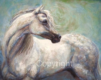 """Arabian Horse Painting On Canvas or paper of """"Hindsight"""""""