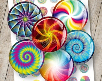 """Spirals & Swirls abstract Digital Collage Sheet 1"""" bottle cap images 1 inch circles 30mm, 25mm 1.25"""", 1.5"""" round printable download cabochon"""