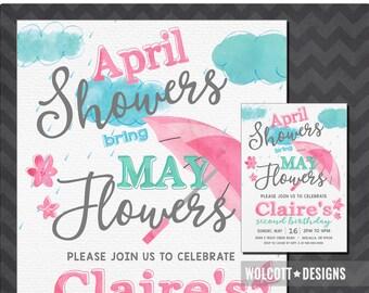 April Showers Birthday Invitation,  April Showers Bring May Flowers, Spring Birthday Invitations, April May Birthday Invitations, Watercolor