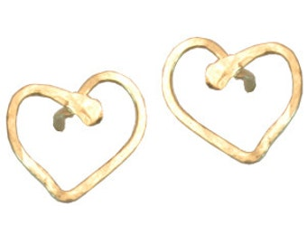 Small Post Heart Earrings, 14k gold filled, sterling silver, 14k rose gold filled