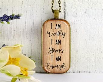 I Am Worthy I Am Strong I Am Enough-Large Rectangular- Glass Bubble Pendant Necklace