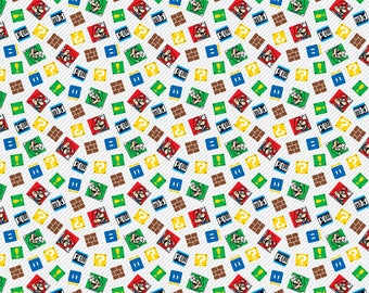 Nintendo Super Mario Game Time KNIT Fabric - Multi (Priced by the half yard and cut continuously)