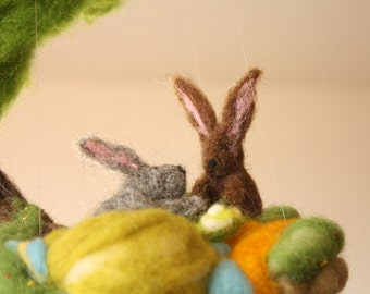 Needle felted ornament, Waldorf Mobile With 2 Rabbits and a Tree, decoration for nursery and children rooms, bunny miniature, wool story fun