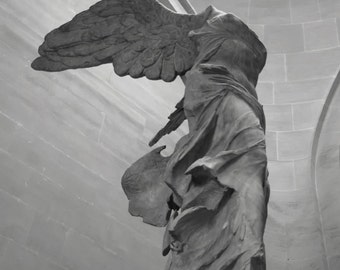Paris Photography - Winged Victory - French sculpture - Guardian Angel - Fine art travel photography - dreamy -  BW or sepia, ivory