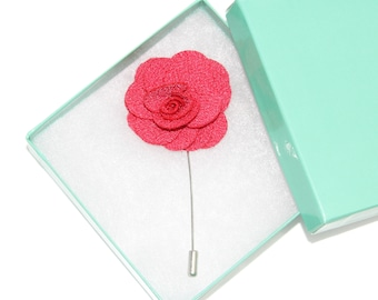 Men's Bright Pink Floral Microfiber Lapel Stick Pin and Gift Box