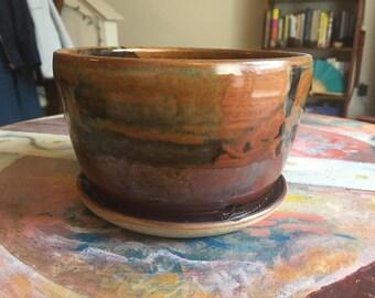Tenmoku Brown Handmade Ceramic Planter
