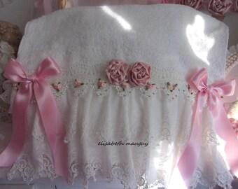 Feminine elegance, shabby chic bath towel, full of romance...