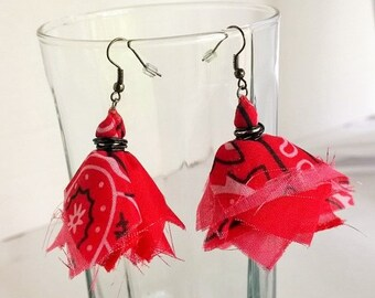 Red Bandana Earrings